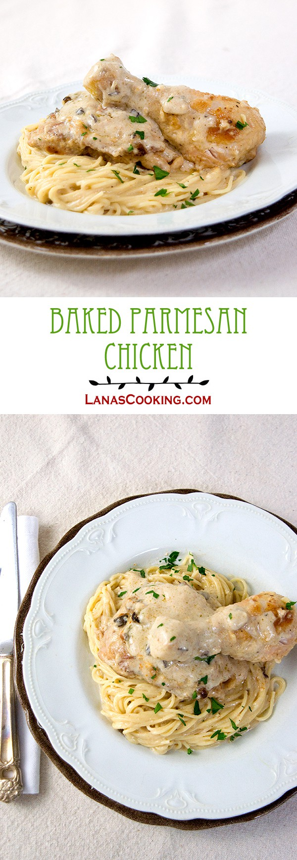 Baked Parmesan Chicken - chicken baked with a creamy mushroom and Parmesan sauce, served over angel hair pasta from @NevrEnoughThyme http://www.lanascooking.com/baked-parmesan-chicken