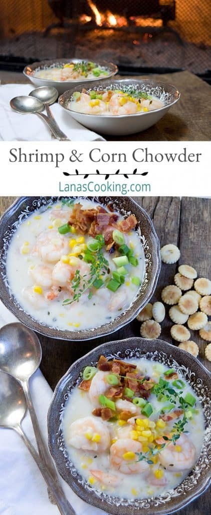 This Shrimp and Corn Chowder is very quick to make, delicious, and satisfying. Try it the next time you need a bit of comfort food. From @NevrEnoughThyme https://www.lanascooking.com/shrimp-and-corn-chowder/
