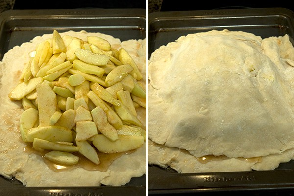 Filling the crust for Apple Slab Pie