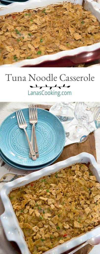 Tuna Noodle Casserole - a classic combination of tuna, peas, and pimiento with egg noodles and sour cream. A family favorite! From @NevrEnoughThyme https://www.lanascooking.com/tuna-noodle-casserole/