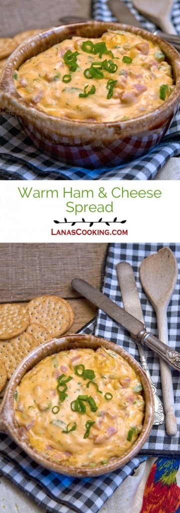 Warm Ham and Cheese Spread - it's like your favorite hot ham and cheese sandwich on a cracker! From @NevrEnoughThyme https://www.lanascooking.com/warm-ham-and-cheese-spread