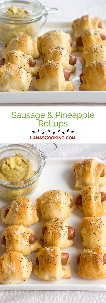 Sausage-Pineapple Rollups - great for football parties, tailgating, or just snacking. From @NevrEnoughThyme https://www.lanascooking.com/sausage-pineapple-rollups