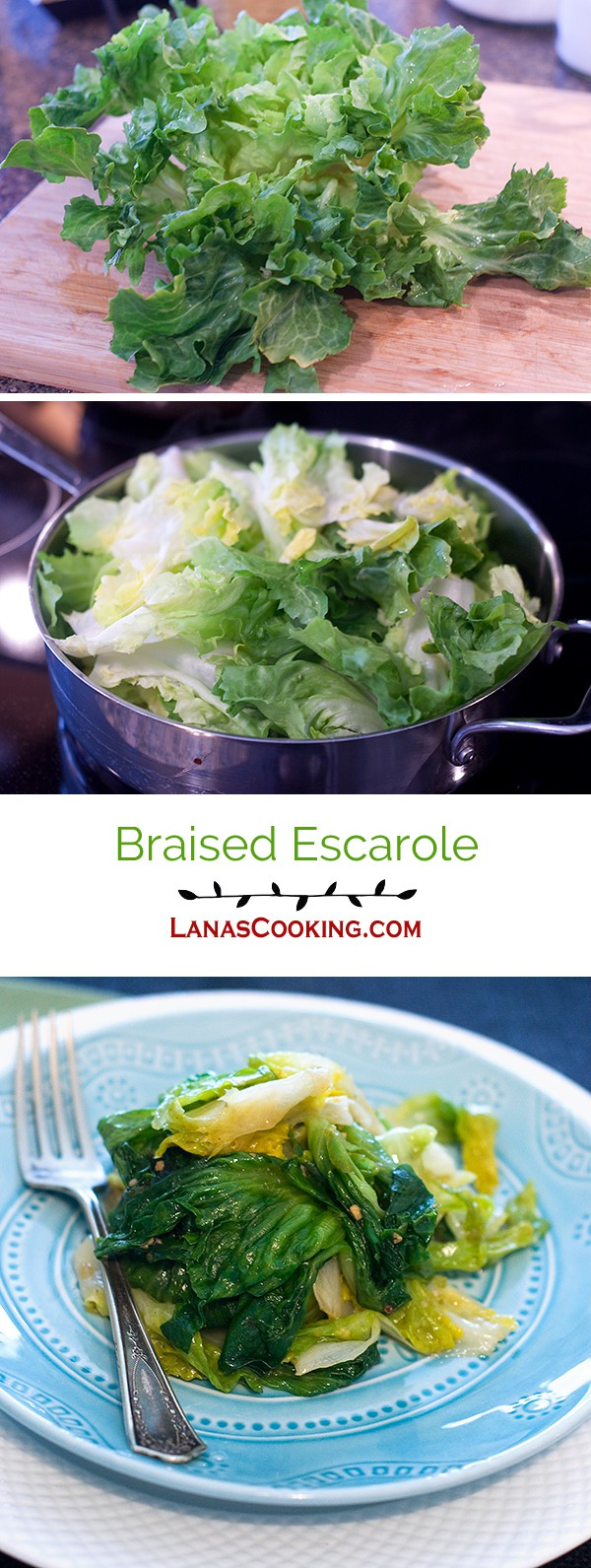 Lovely green escarole braised with olive oil, garlic, red pepper, and lemon juice. From @NevrEnoughThyme https://www.lanascooking.com/braised-escarole