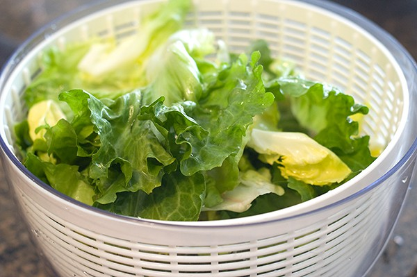Spin dry the escarole leaves