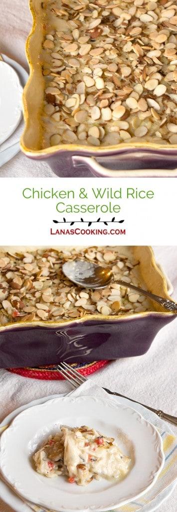 Chicken Wild Rice Casserole - a cream, delicious casserole featuring chicken and wild rice. From @NevrEnoughThyme https://www.lanascooking.com/chicken-wild-rice-casserole