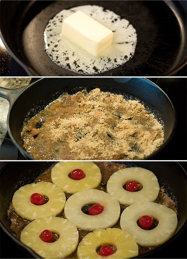 Melt butter and sugar; arrange pineapple rings and cherries