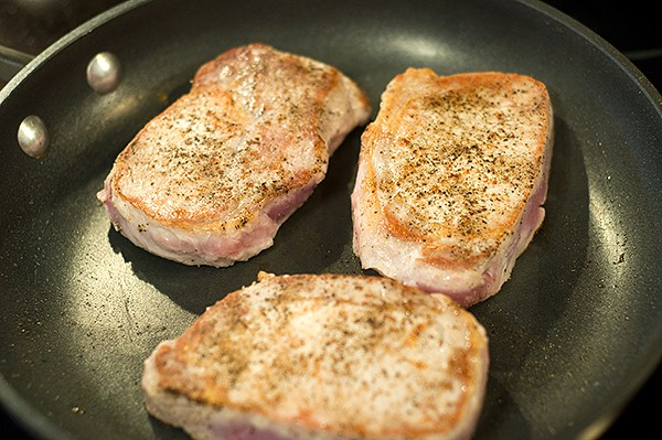 Brown pork chops on both sides