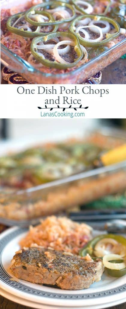 This quick and easy recipe for One Dish Pork Chops and Rice will help you get dinner on the table in no time. From @NevrEnoughThyme https://www.lanascooking.com/one-dish-pork-chops-rice/