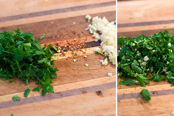 Prepare the parsley, red pepper flakes, and garlic for Fried Tomatoes with Garlic