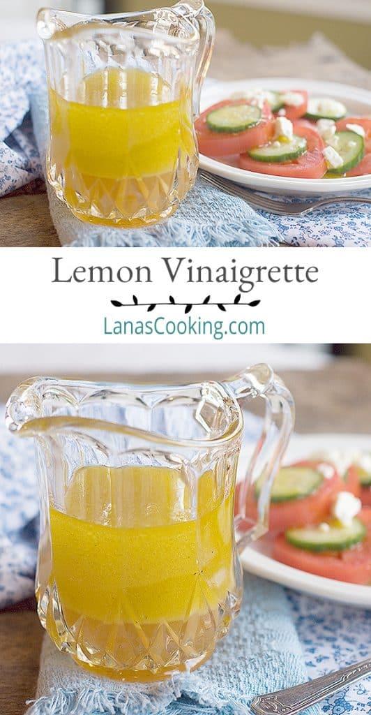Lemon Vinaigrette - a light, refreshing homemade salad dressing. From @NevrEnoughThyme https://www.lanascooking.com/lemon-vinaigrette/