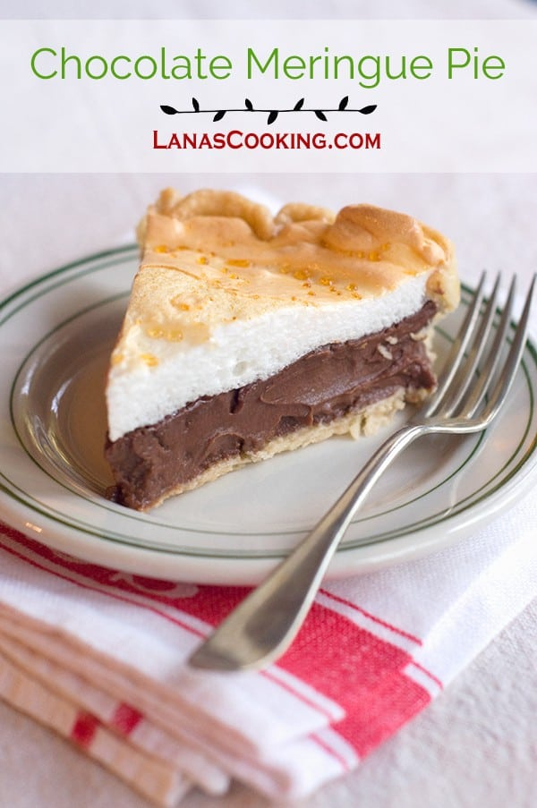 Chocolate Meringue Pie - an old fashioned, rich, and deliciously indulgent dessert. From @NevrEnoughThyme http://www.lanascooking.com/chocolate-meringue-pie