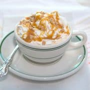 Caramel Mocha Latte - Enjoy it as a delicious afternoon pick-me-up or a serve to your guests for a delicious after dinner dessert coffee. https://www.lanascooking.com/caramel-mocha-latte/