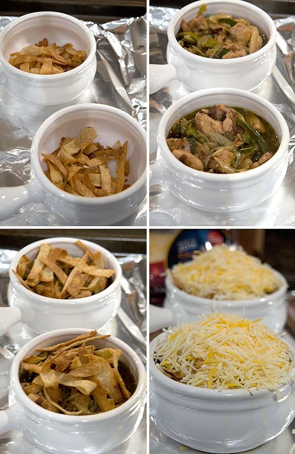 Complete assembling soup ramekins