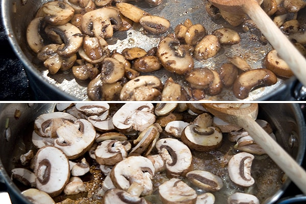 Cooking mushroom in olive oil