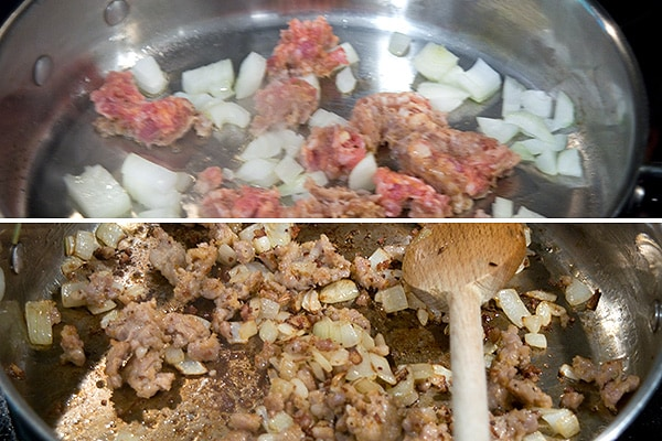 Browning Italian Sausage and onions in a skillet.