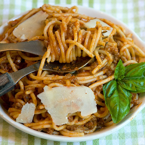 Serve Bolognese sauce with shaved Parmesan cheese Bolognese Sauce - a rich, beefy tomato sauce for your pasta. From @NevrEnoughThyme https://www.lanascooking.com/bolognese-sauce