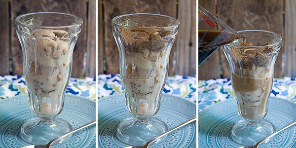 Ice cream and gingersnaps layered into a parfait glass.