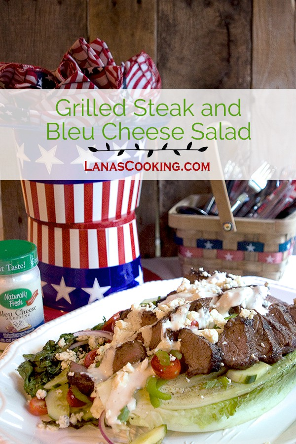Grilled Steak Bleu Cheese Salad - a main dish salad featuring grilled Romaine lettuce and steak topped with Naturally Fresh® Brand Bleu Cheese dressing. From @NevrEnoughThyme http://www.lanascooking.com/grilled-steak-bleu-cheese-salad