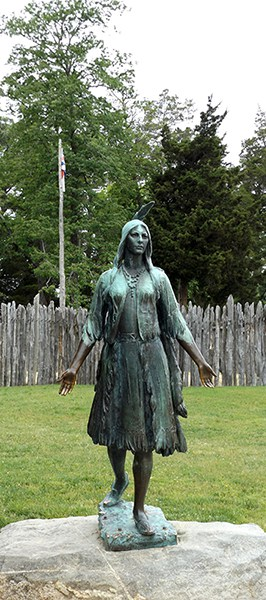 Pocahontas statue at Jamestown. From @NevrEnoughThyme https://www.lanascooking.com/americas-historic-triangle