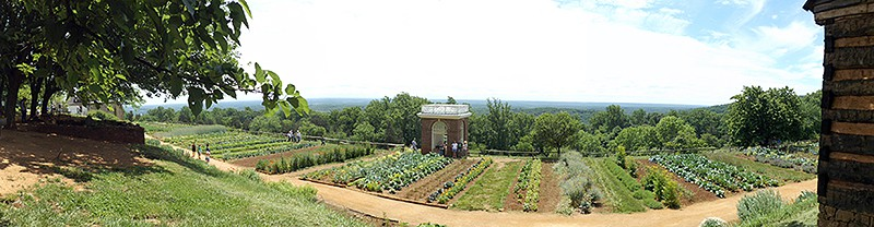 A panoramic view of the Monticello garden. From @NevrEnoughThyme https://www.lanascooking.com/americas-historic-triangle