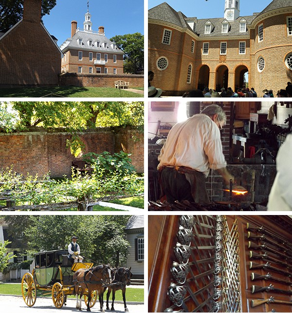 A few of the sights around Williamsburg - the Governor's Palace, the Capitol building, gardens, a blacksmith at work, horse-drawn carriages, and a display of period arms.. From @NevrEnoughThyme https://www.lanascooking.com/americas-historic-triangle