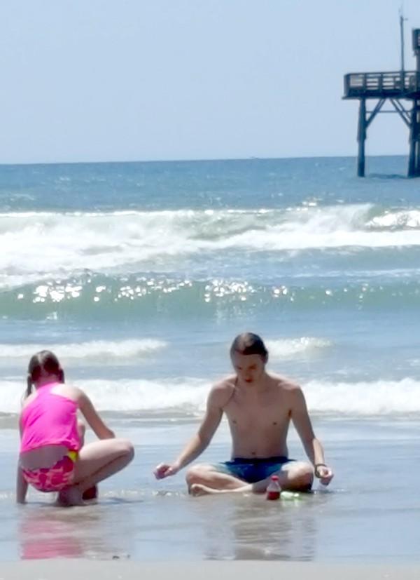 Kids on the beach at Cherry Grove Pier http://www.lanascooking.com/myrtle-beach