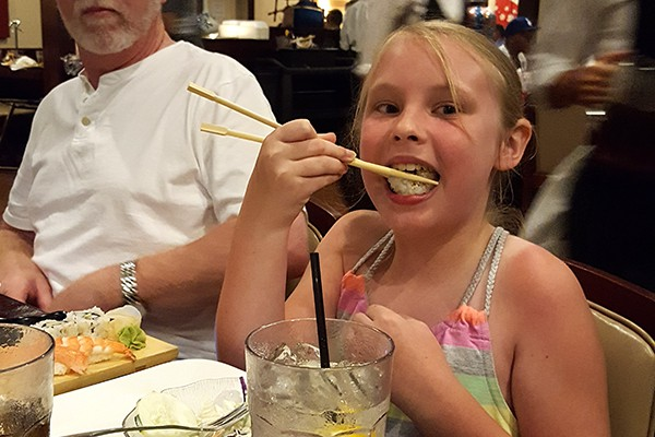 The youngest showing off her mad chopstick skills! http://www.lanascooking.com/myrtle-beach