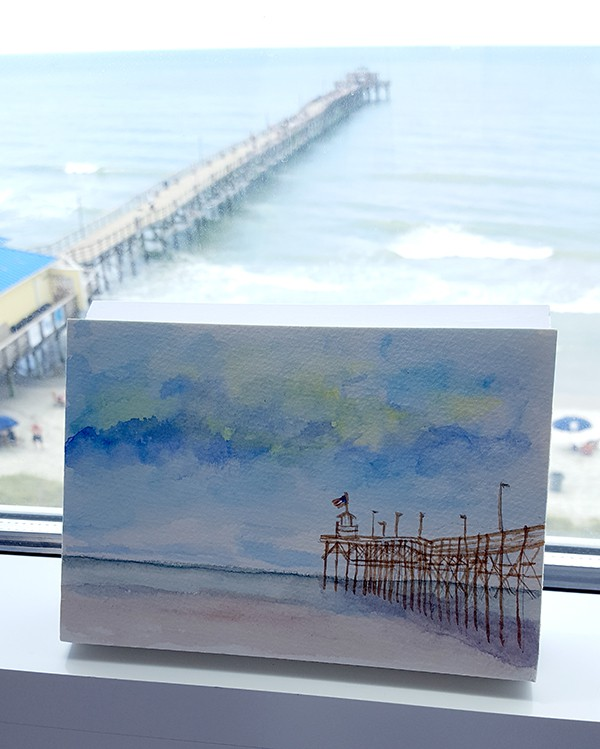 Watercolor Of Cherry Grove Beach Pier Lanascooking