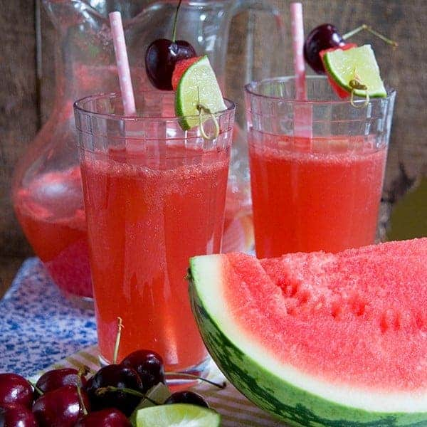Deliciously refreshing summer time drink - a mix of watermelon juice, sparkling cherry juice, and lime. From @NevrEnoughThyme http://www.lanascooking.com/watermelon-cherry-limeade