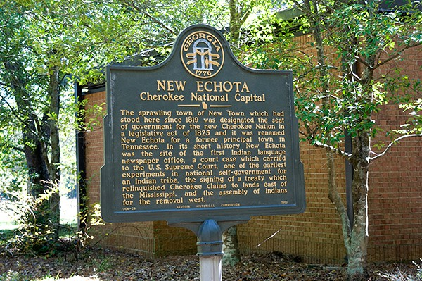 Historical Marker at New Echota Cherokee Capital in North Georgia from @NevrEnoughThyme http://www.lanascooking.com/new-echota-cherokee-capital/