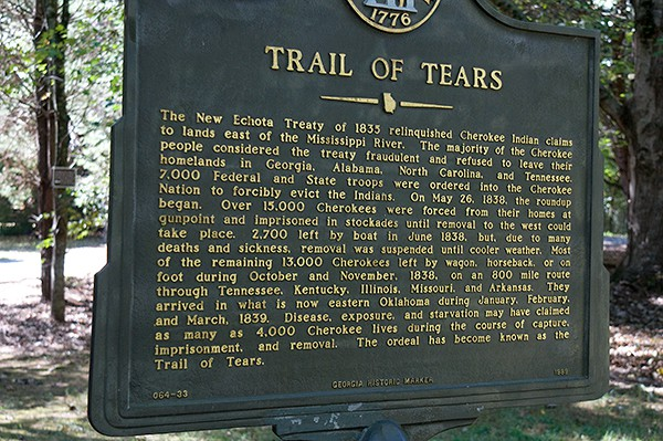 Trail of Tears Historical Marker at New Echota Cherokee Capital in North Georgia from @NevrEnoughThyme https://www.lanascooking.com/new-echota-cherokee-capital/