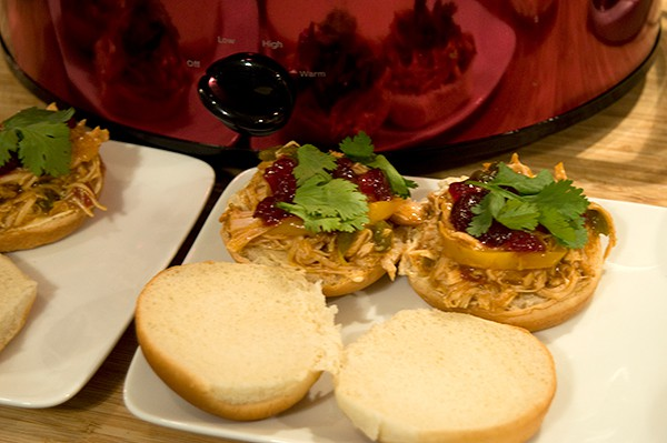 Apple Bourbon Barbecue Turkey Sliders using Campbell's Slow Cooker Sauces