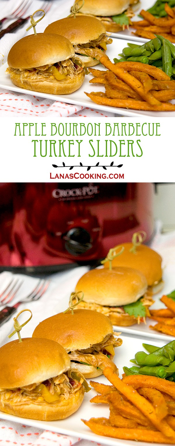 Apple Bourbon Barbecue Turkey Sliders - use purchased slow cooker sauce to make these barbecue turkey sliders quick and easy. From @NevrEnoughThyme http://www.lanascooking.com/apple-bourbon-barbecue-turkey-sliders