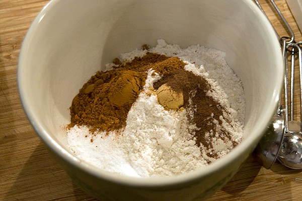 Dry ingredients for Pumpkin Cream Cheese Brownies