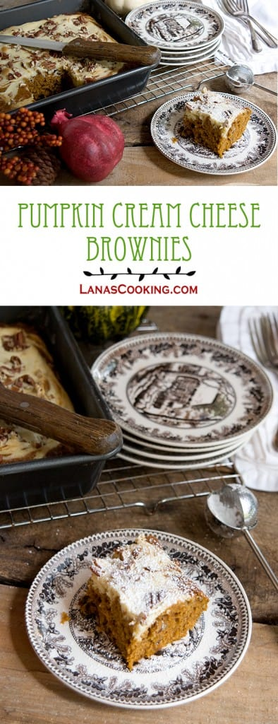 A pumpkin cake-like brownie with a swirled cream cheese layer. https://www.lanascooking.com/pumpkin-cream-cheese-brownies/