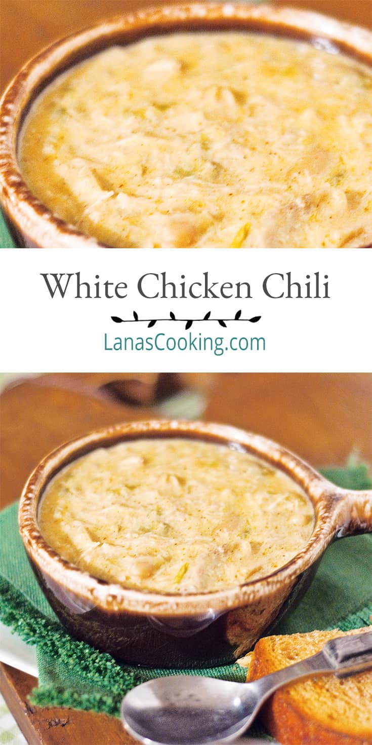 A bowl of creamy white chicken chili on a napkin with a spoon alongside. Text overlay for pinning