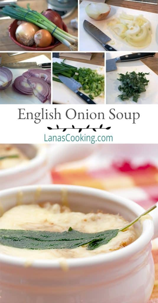 A bowl of English Onion Soup on a serving plate. Text overlay for pinning.