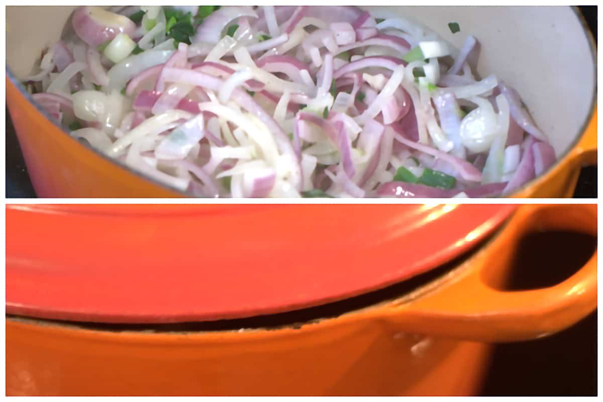 Mixture of onions in a heavy iron pan with the lid slightly askew.