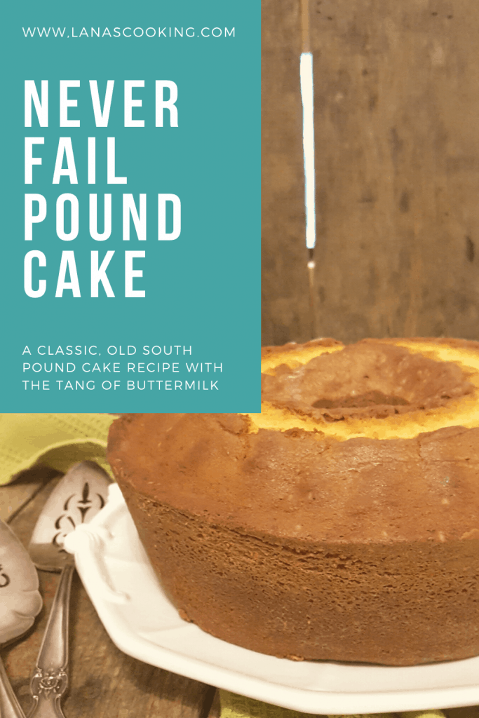 Never Fail Pound Cake - a classic old southern recipe for pound cake with the tang of buttermilk. From @NevrEnoughThyme https://www.lanascooking.com/never-fail-pound-cake-with-warm-berry-compote/