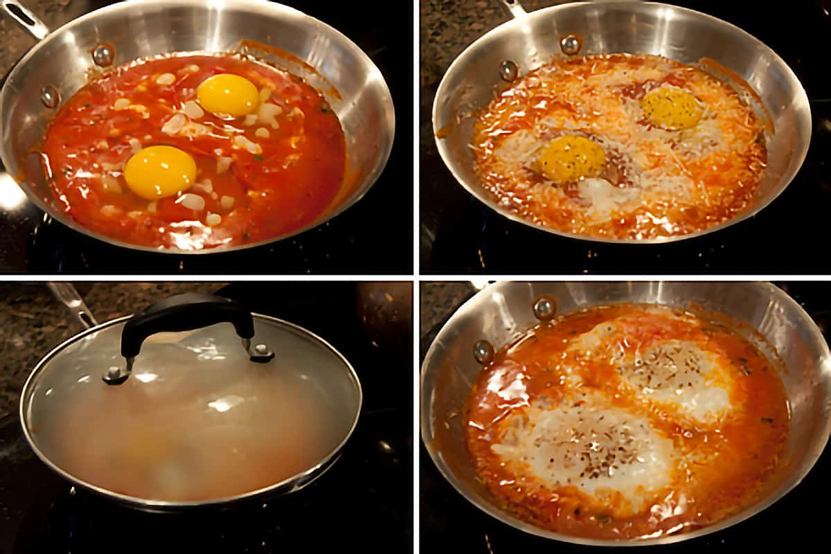 Photo collage that shows eggs being added to tomato sauce, seasonings added, and eggs cooked with lid on pan