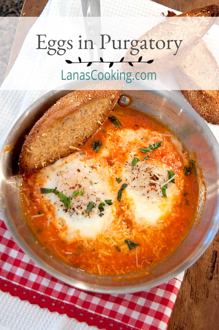 Eggs in Purgatory - Eggs poached in a quickly made tomato, garlic, and basil sauce. Perfect supper for one or late night indulgence. From @NevrEnoughThyme https://www.lanascooking.com/eggs-in-purgatory/