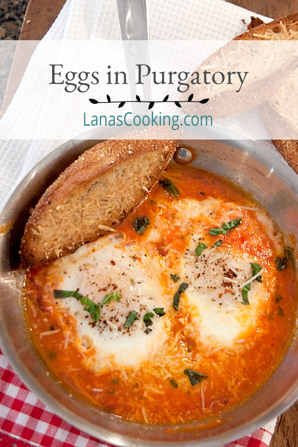 Eggs in Purgatory - Eggs poached in a quickly made tomato, garlic, and basil sauce. Perfect supper for one or late night indulgence. From @NevrEnoughThyme http://www.lanascooking.com/eggs-in-purgatory/