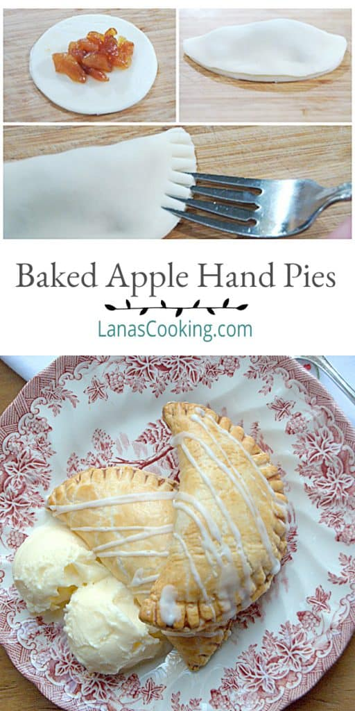 Baked Apple Hand Pies. Individual, baked apple pies topped with a drizzle of sugar glaze. https://www.lanascooking.com/apple-pies-baked-not-fried/