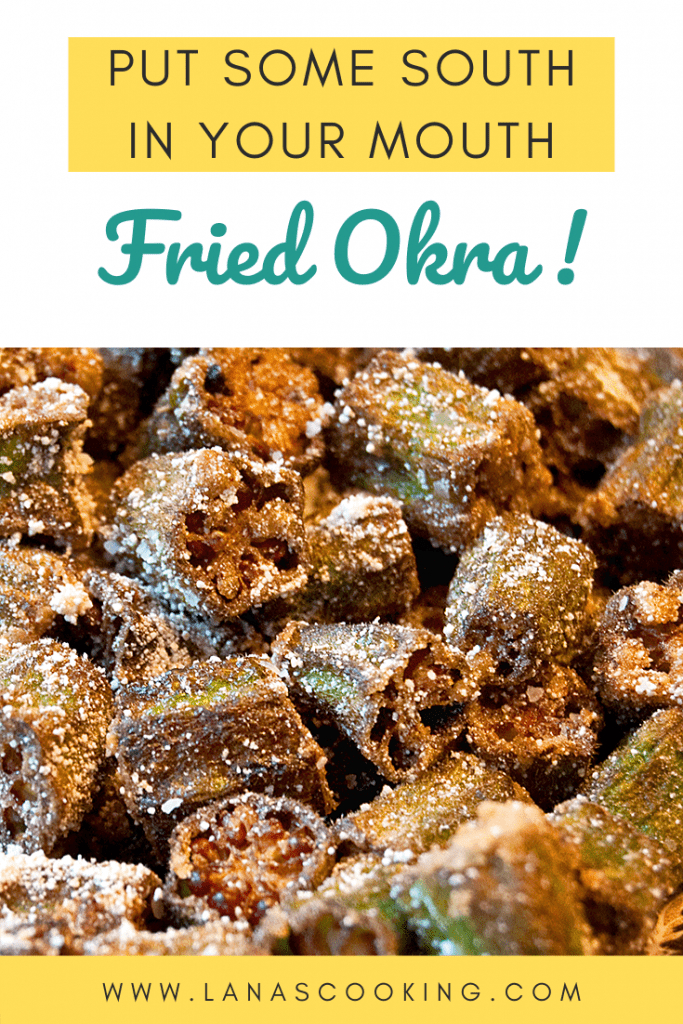 Fried Okra - a deep South favorite! Tender okra dredged in finely ground white cornmeal and fried to a crispy, golden brown. From @NevrEnoughThyme https://www.lanascooking.com/fried-okra/