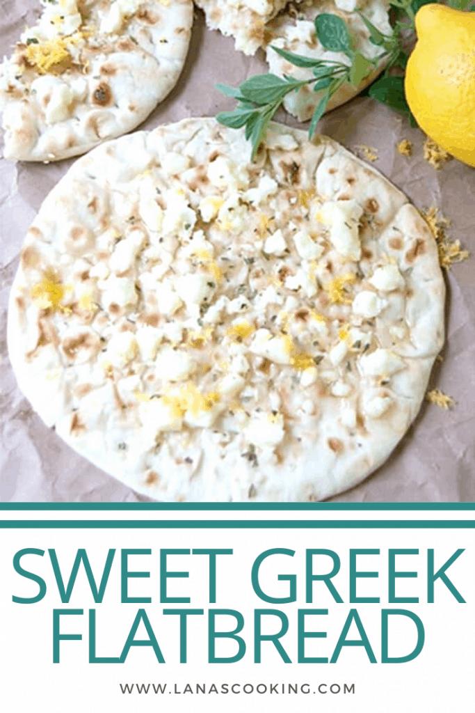 Sweet Greek Flatbread - flatbread topped with warm feta cheese, honey, lemon zest and oregano. Serve as an appetizer, snack, or light dessert. From @NevrEnoughThyme https://www.lanascooking.com/sweet-greek-flatbread/