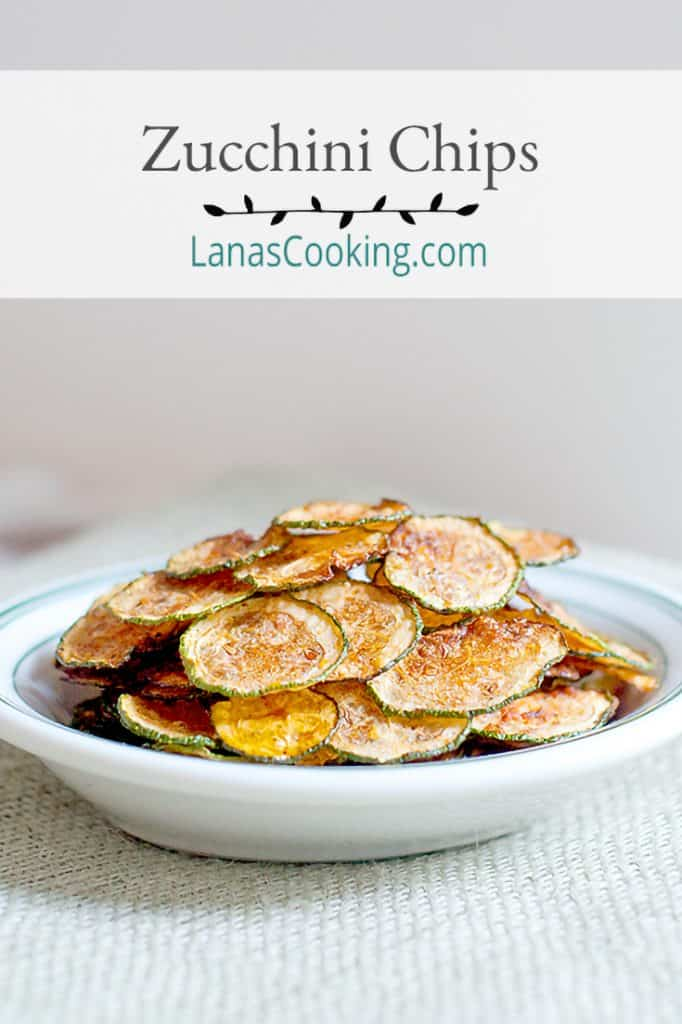 Zucchini Chips - Crispy, crunchy zucchini chips! Great alternative to potato chips. From @NevrEnoughThyme https://www.lanascooking.com/zucchini-chips