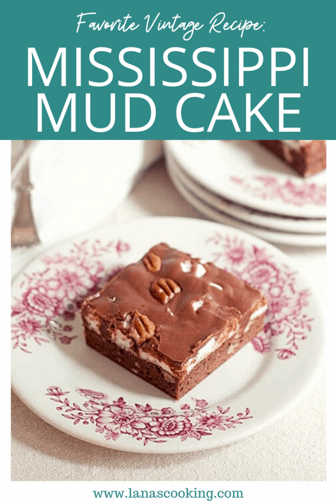 A vintage recipe for Mississippi Mud Cake - a brownie cake base topped with melted marshmallows and drizzled with chocolate frosting. From @NevrEnoughThyme https://www.lanascooking.com/mississippi-mud-cake/