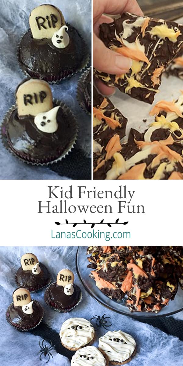 Three unique ideas for Kid-Friendly Halloween Fun including candy-corn colored chocolate bark, graveyard cupcakes and mummy cookies. From @NevrEnoughThyme https://www.lanascooking.com/kid-friendly-halloween-fun/