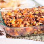 Sweet Potato and Pecan Stuffing in baking dish.