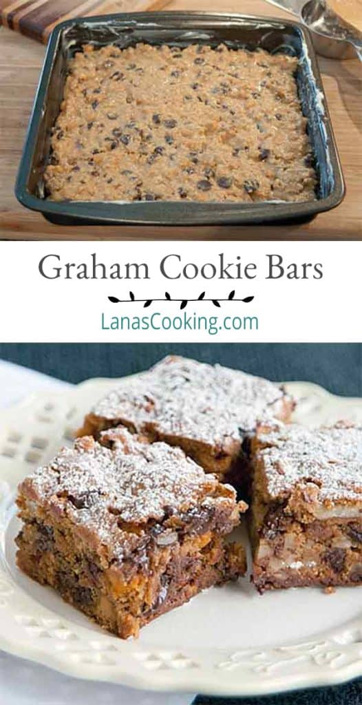 These graham cookie bars are easy to make with chocolate chips and butterscotch morsels. From @NevrEnoughThyme https://www.lanascooking.com/graham-cookie-bars/